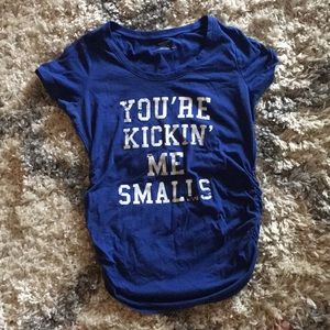 """You're kickin' me smalls"" blue maternity tee"
